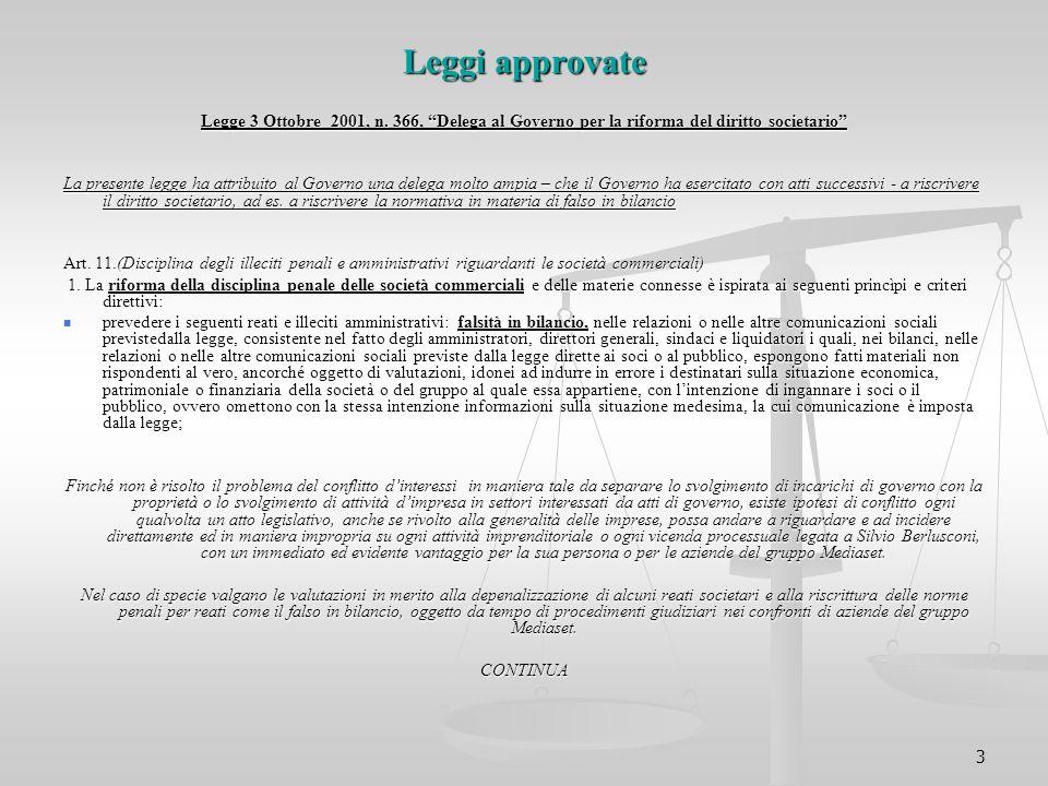 Leggi approvate Legge 3 Ottobre 2001, n. 366, Delega al Governo per la riforma del diritto societario