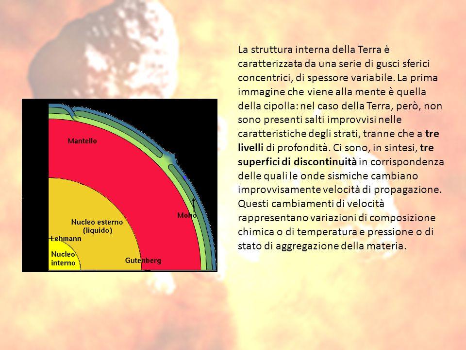 La struttura interna della Terra è caratterizzata da una serie di gusci sferici concentrici, di spessore variabile.