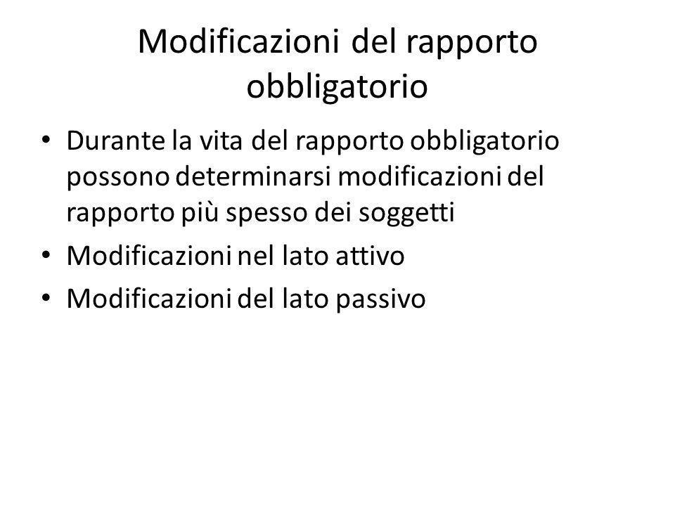 Modificazioni del rapporto obbligatorio