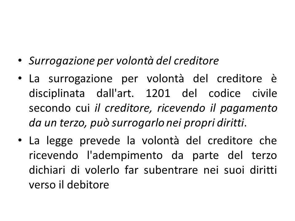 Surrogazione per volontà del creditore