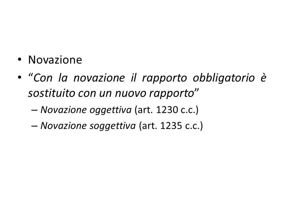 Novazione Con la novazione il rapporto obbligatorio è sostituito con un nuovo rapporto Novazione oggettiva (art. 1230 c.c.)