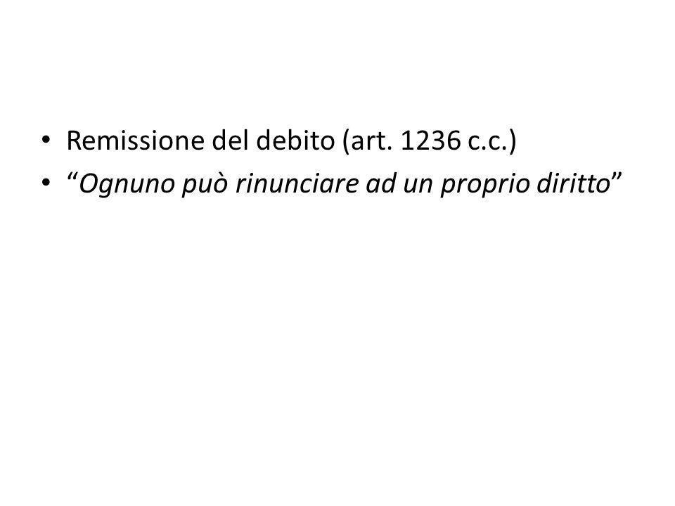 Remissione del debito (art. 1236 c.c.)