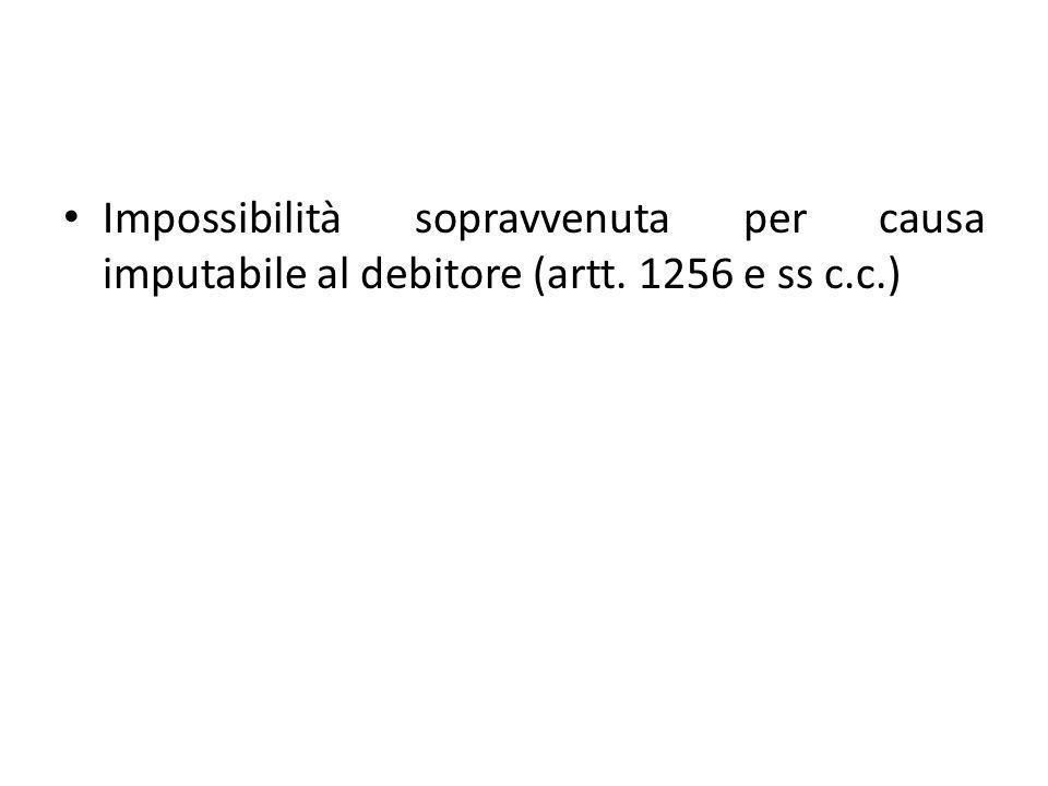 Impossibilità sopravvenuta per causa imputabile al debitore (artt