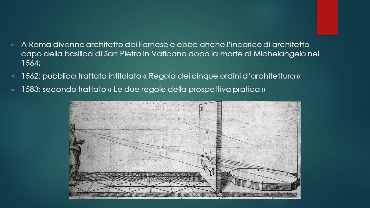 A Roma divenne architetto dei Farnese e ebbe anche l'incarico di architetto capo della basilica di San Pietro in Vaticano dopo la morte di Michelangelo nel 1564;