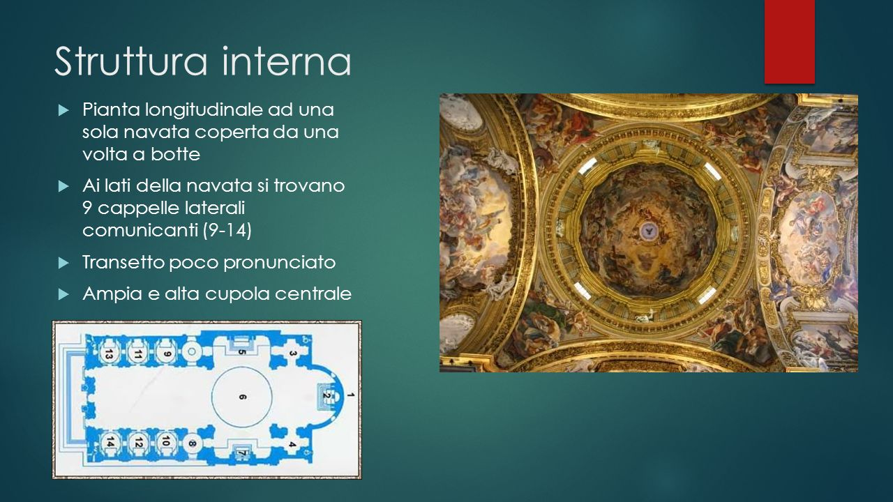 Struttura interna Pianta longitudinale ad una sola navata coperta da una volta a botte.