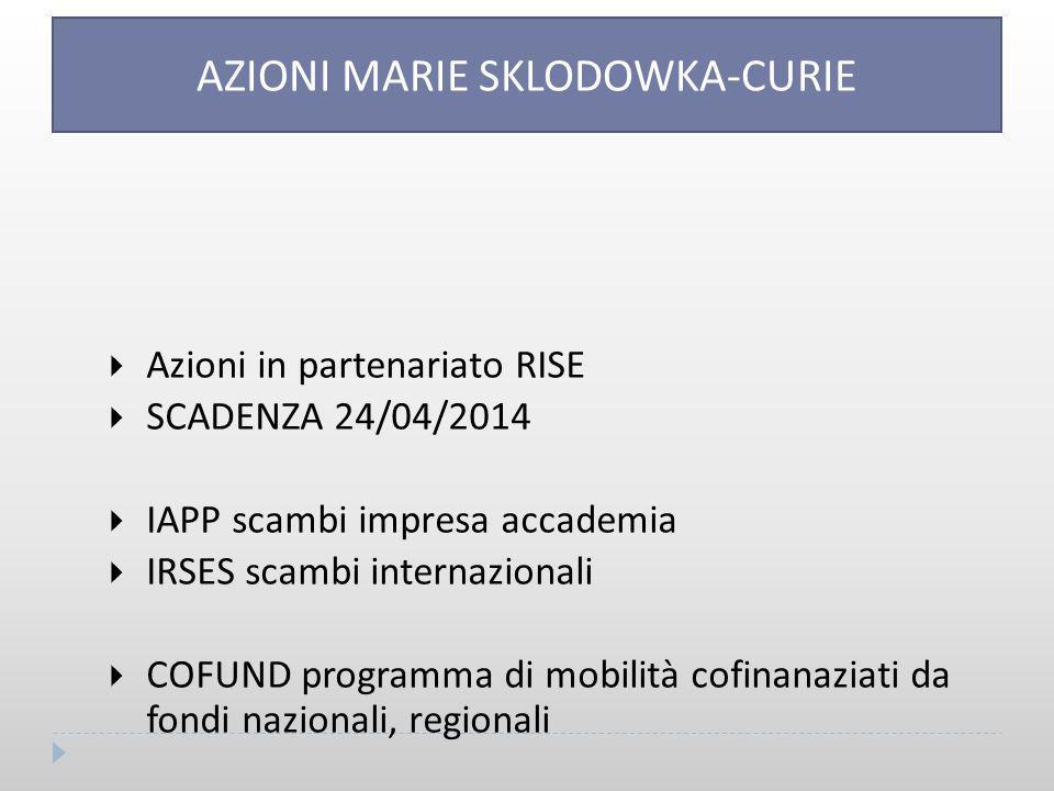 AZIONI MARIE SKLODOWKA-CURIE