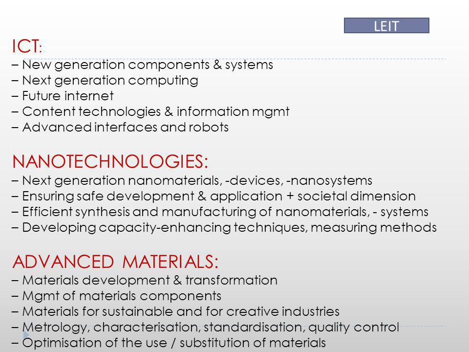 ICT: NANOTECHNOLOGIES: ADVANCED MATERIALS: LEIT