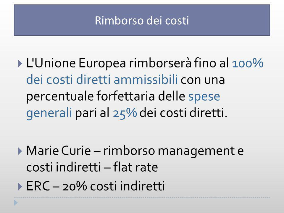 Marie Curie – rimborso management e costi indiretti – flat rate