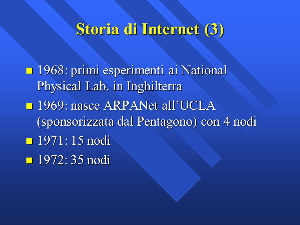 Storia di Internet (3) 1968: primi esperimenti ai National Physical Lab. in Inghilterra.