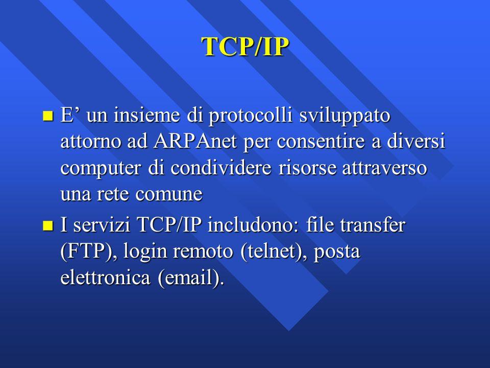 TCP/IP E' un insieme di protocolli sviluppato attorno ad ARPAnet per consentire a diversi computer di condividere risorse attraverso una rete comune.