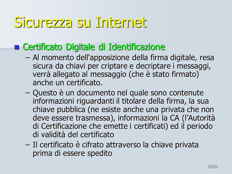 Sicurezza su Internet Certificato Digitale di Identificazione