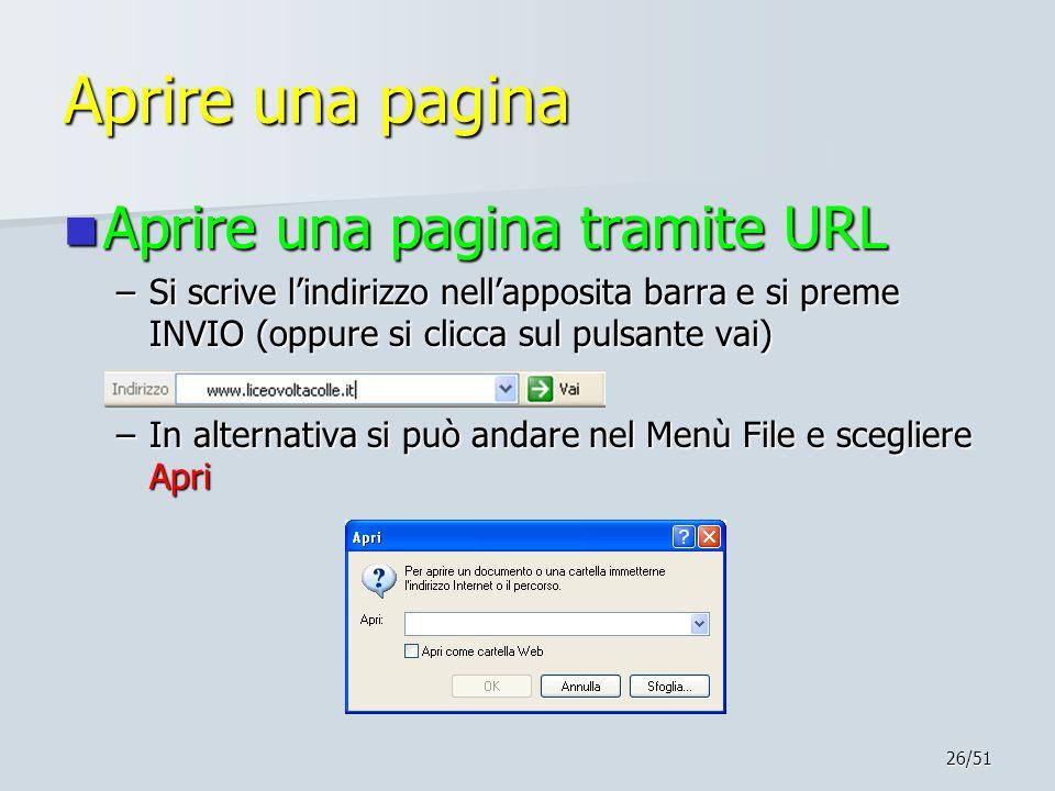 Aprire una pagina Aprire una pagina tramite URL