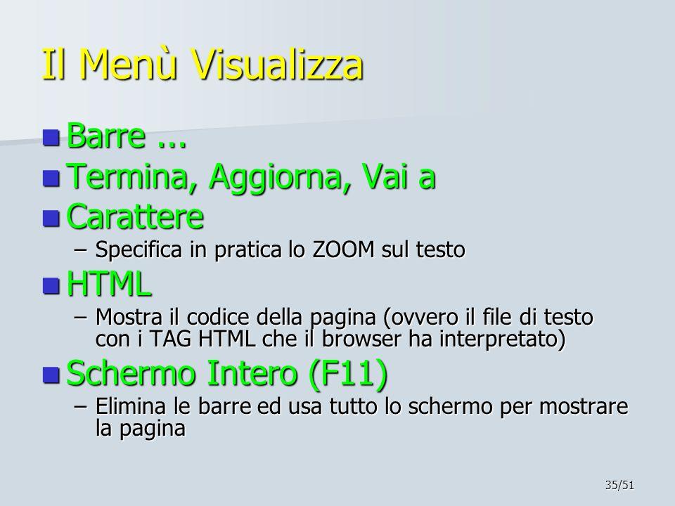 Il Menù Visualizza Barre ... Termina, Aggiorna, Vai a Carattere HTML
