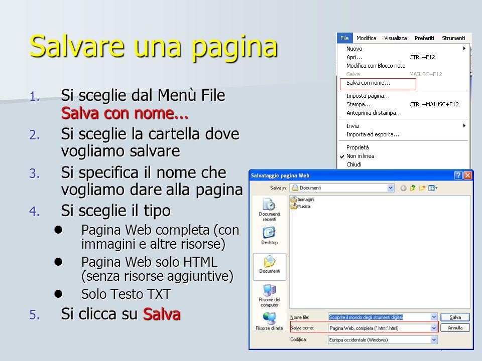 Salvare una pagina Si sceglie dal Menù File Salva con nome...