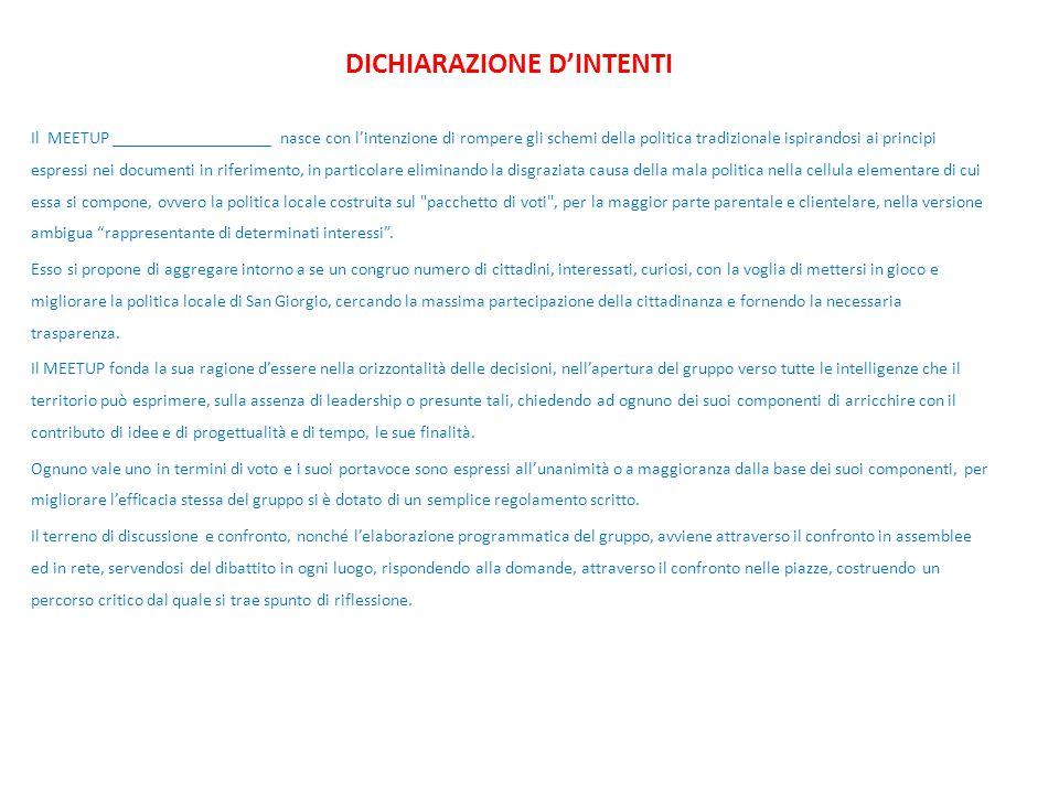 DICHIARAZIONE D'INTENTI