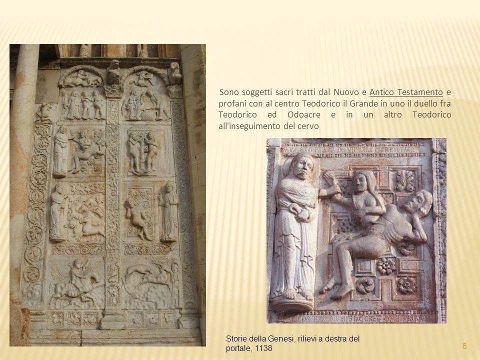 Sono soggetti sacri tratti dal Nuovo e Antico Testamento e profani con al centro Teodorico il Grande in uno il duello fra Teodorico ed Odoacre e in un altro Teodorico all inseguimento del cervo