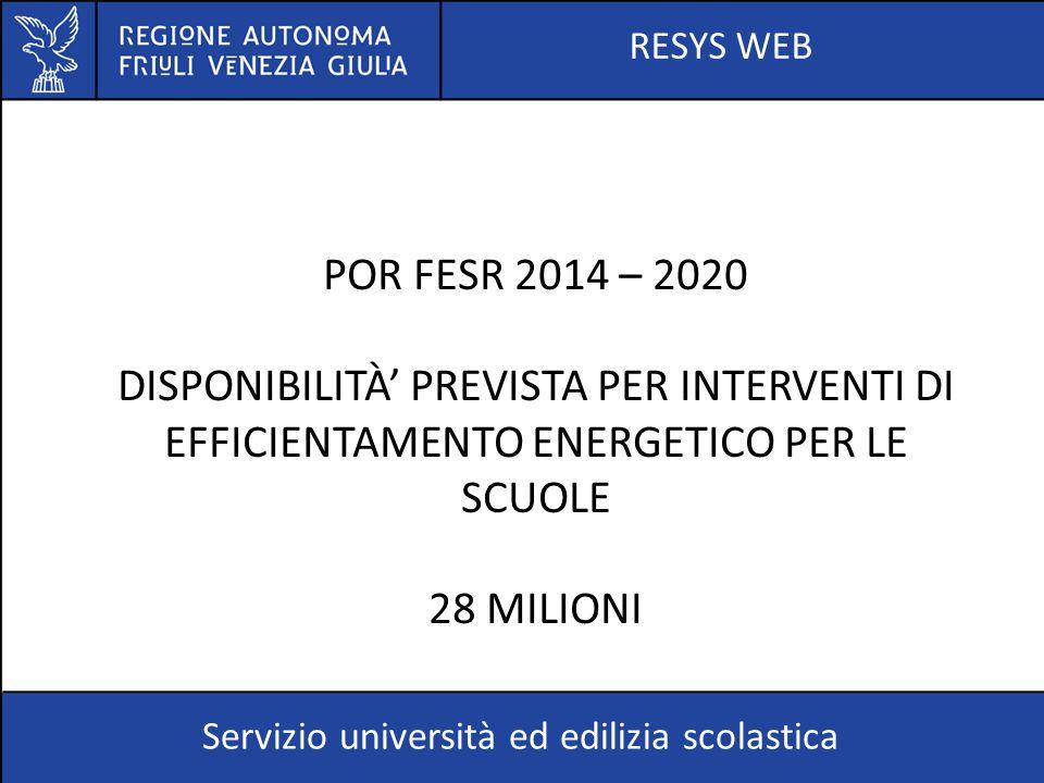 RESYS WEB POR FESR 2014 – 2020. DISPONIBILITÀ' PREVISTA PER INTERVENTI DI EFFICIENTAMENTO ENERGETICO PER LE SCUOLE.