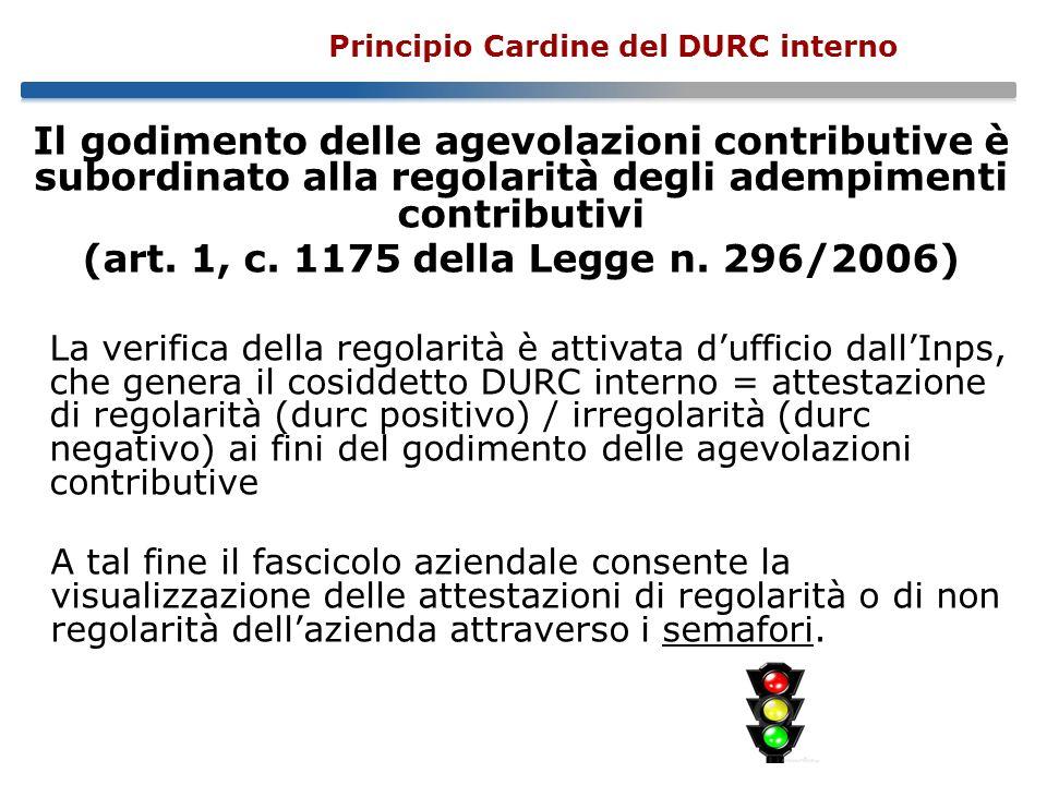Principio Cardine del DURC interno