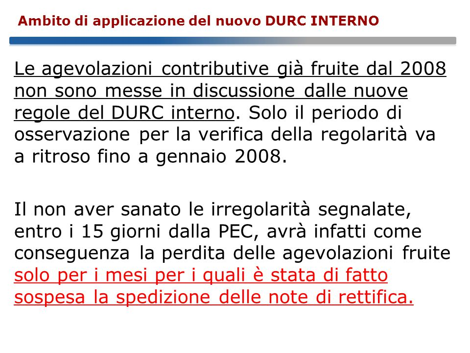 Ambito di applicazione del nuovo DURC INTERNO