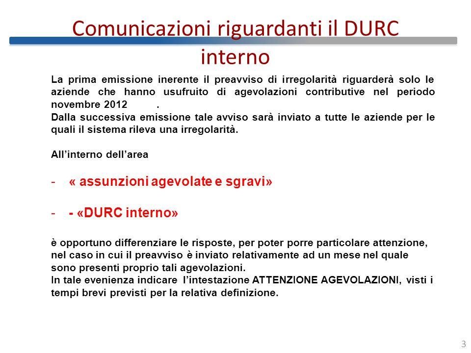 Comunicazioni riguardanti il DURC interno