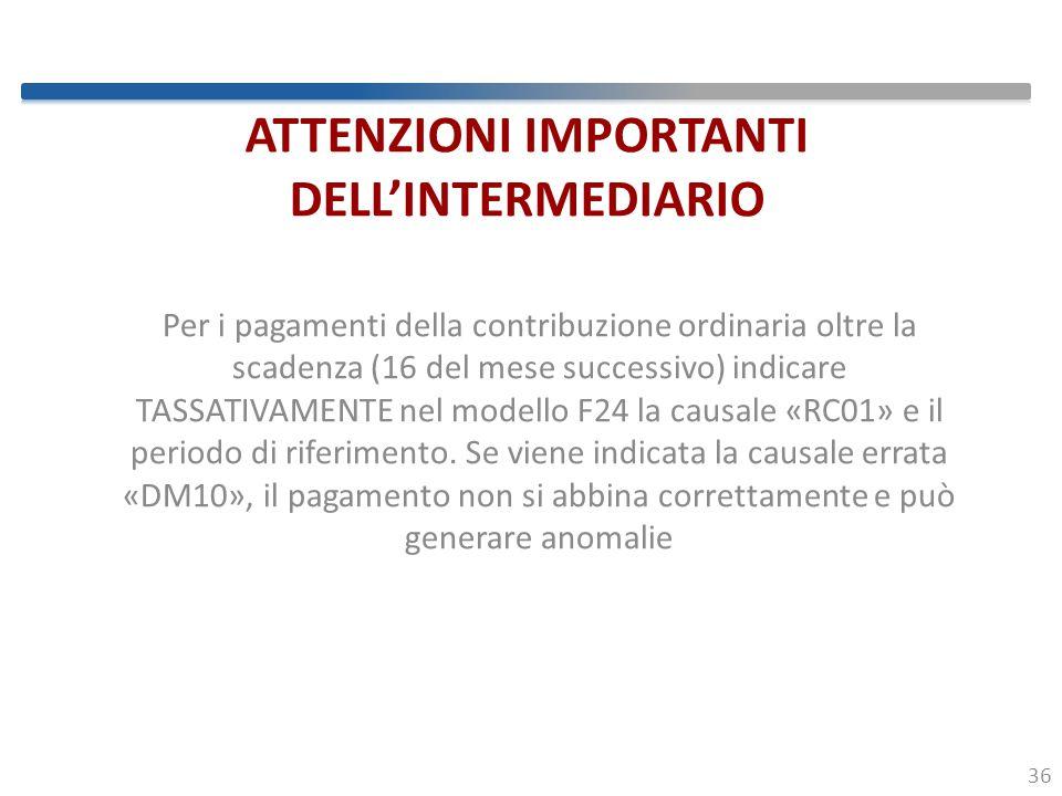 ATTENZIONI IMPORTANTI DELL'INTERMEDIARIO
