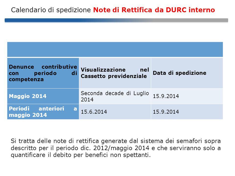 Calendario di spedizione Note di Rettifica da DURC interno