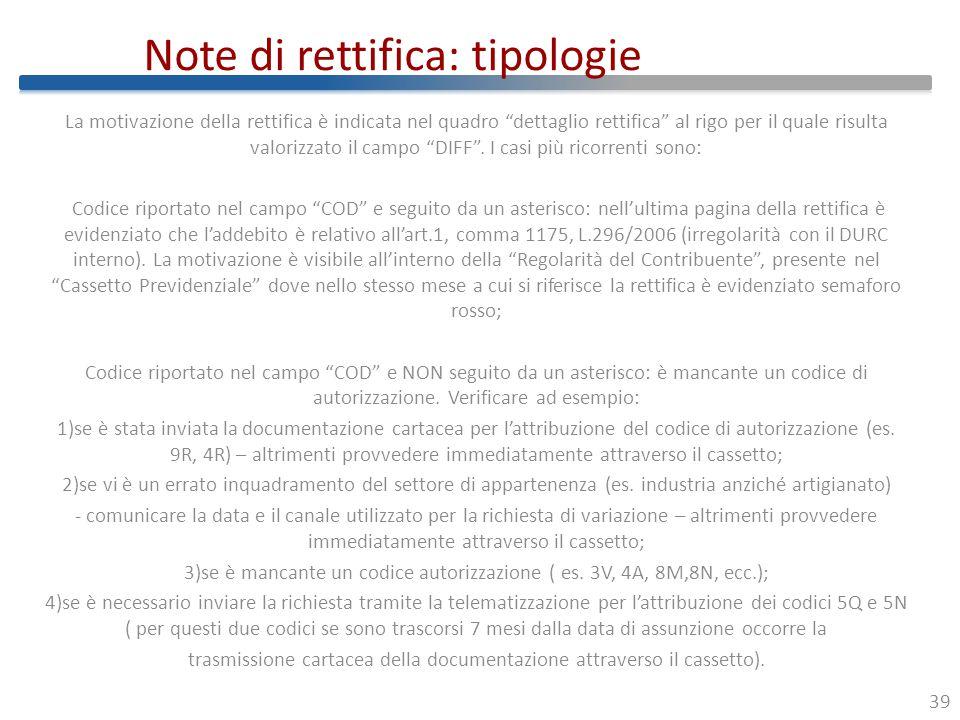 Note di rettifica: tipologie
