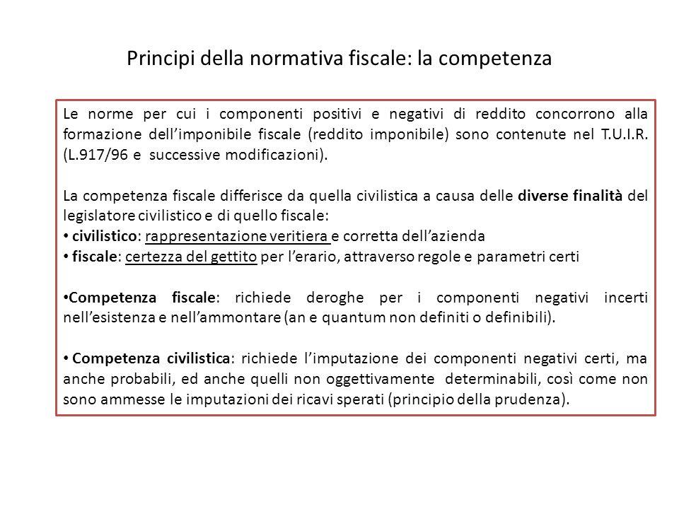 Principi della normativa fiscale: la competenza