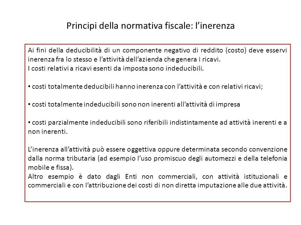 Principi della normativa fiscale: l'inerenza