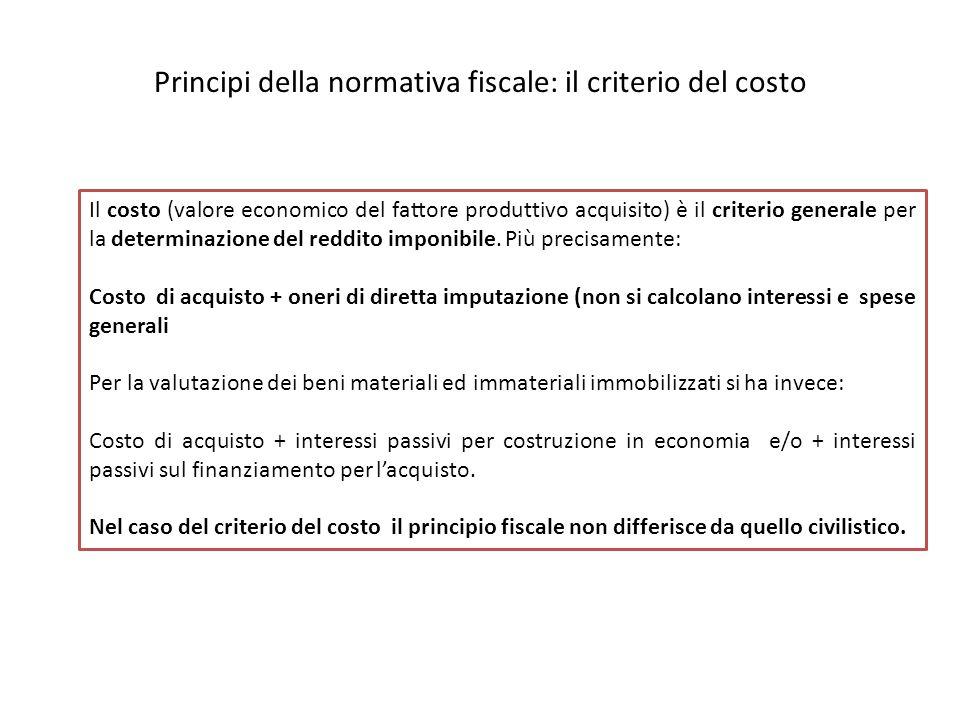 Principi della normativa fiscale: il criterio del costo