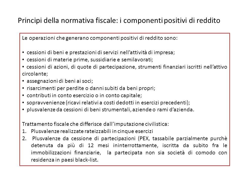 Principi della normativa fiscale: i componenti positivi di reddito