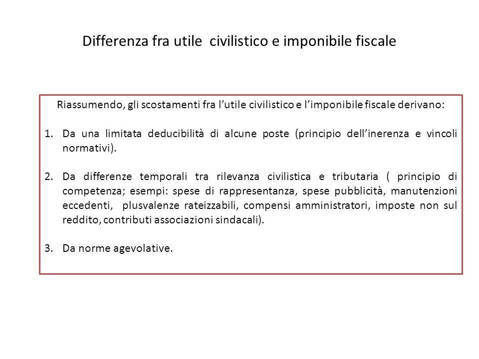 Differenza fra utile civilistico e imponibile fiscale