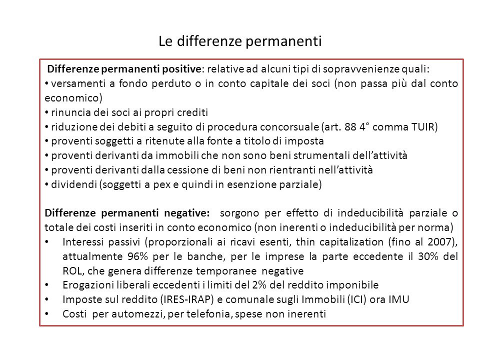 Le differenze permanenti