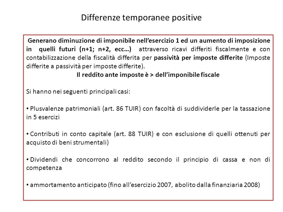 Differenze temporanee positive