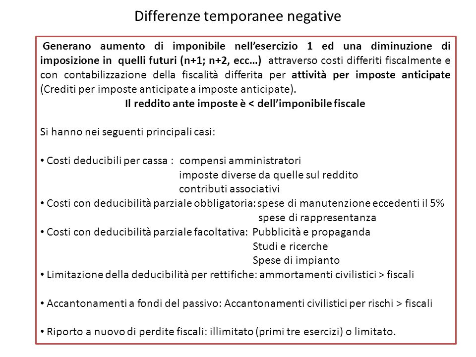 Differenze temporanee negative