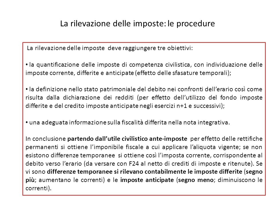La rilevazione delle imposte: le procedure