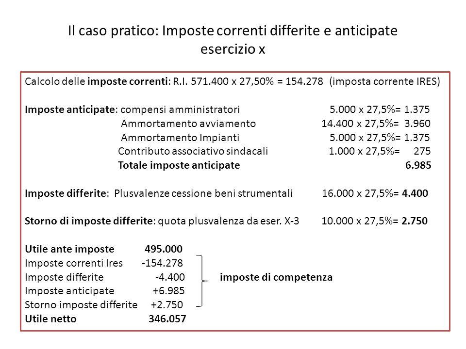 Il caso pratico: Imposte correnti differite e anticipate esercizio x