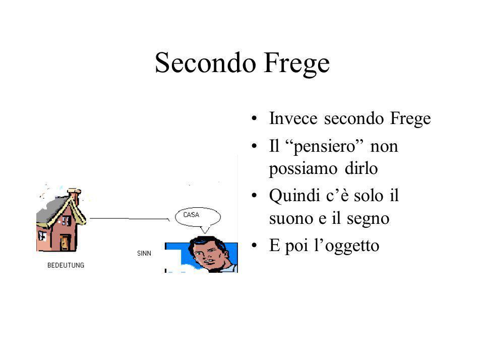 Secondo Frege Invece secondo Frege Il pensiero non possiamo dirlo