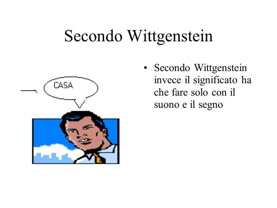 Secondo Wittgenstein Secondo Wittgenstein invece il significato ha che fare solo con il suono e il segno.