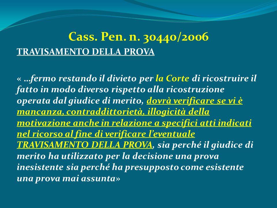 Cass. Pen. n. 30440/2006 TRAVISAMENTO DELLA PROVA