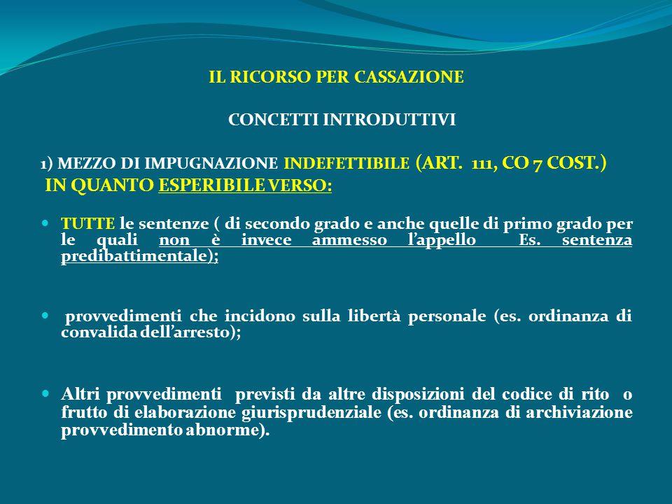 IL RICORSO PER CASSAZIONE CONCETTI INTRODUTTIVI