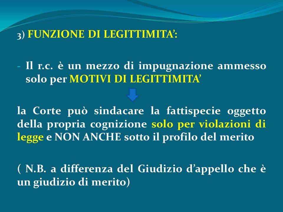 3) FUNZIONE DI LEGITTIMITA':