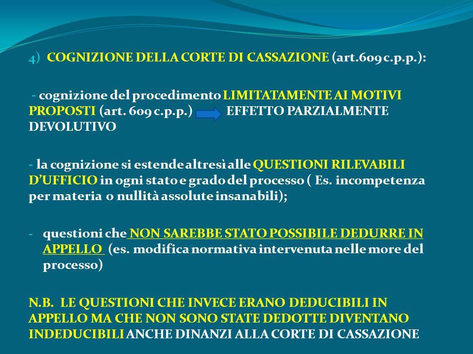 4) COGNIZIONE DELLA CORTE DI CASSAZIONE (art.609 c.p.p.):