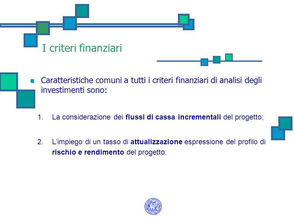 I criteri finanziari Caratteristiche comuni a tutti i criteri finanziari di analisi degli investimenti sono: