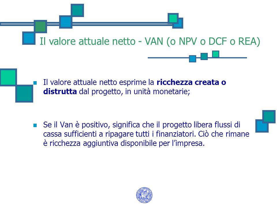 Il valore attuale netto - VAN (o NPV o DCF o REA)