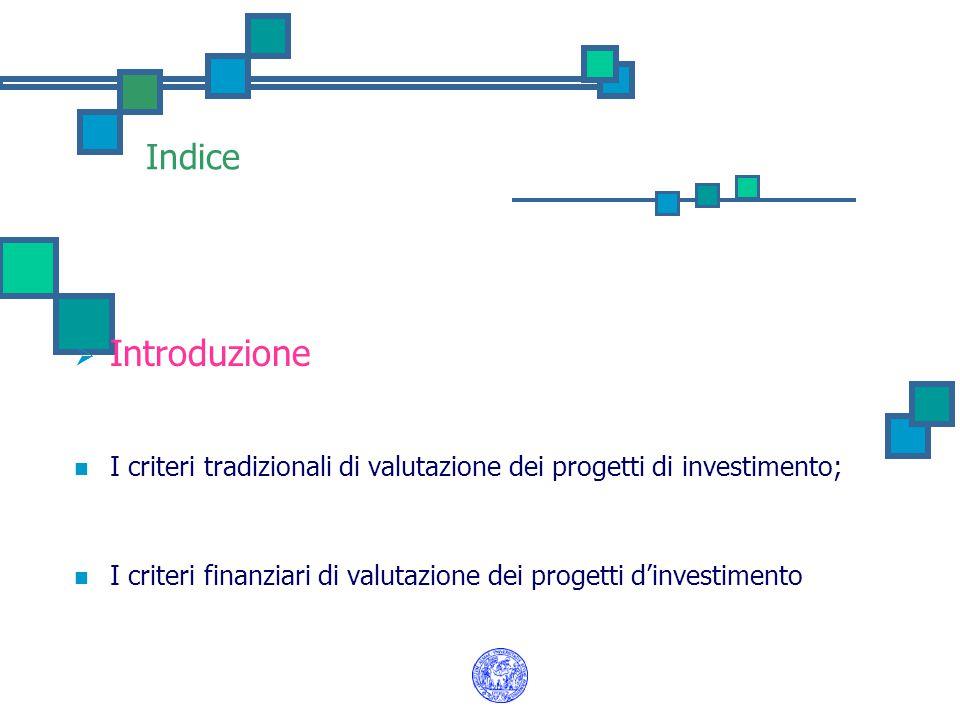 Indice Introduzione. I criteri tradizionali di valutazione dei progetti di investimento;
