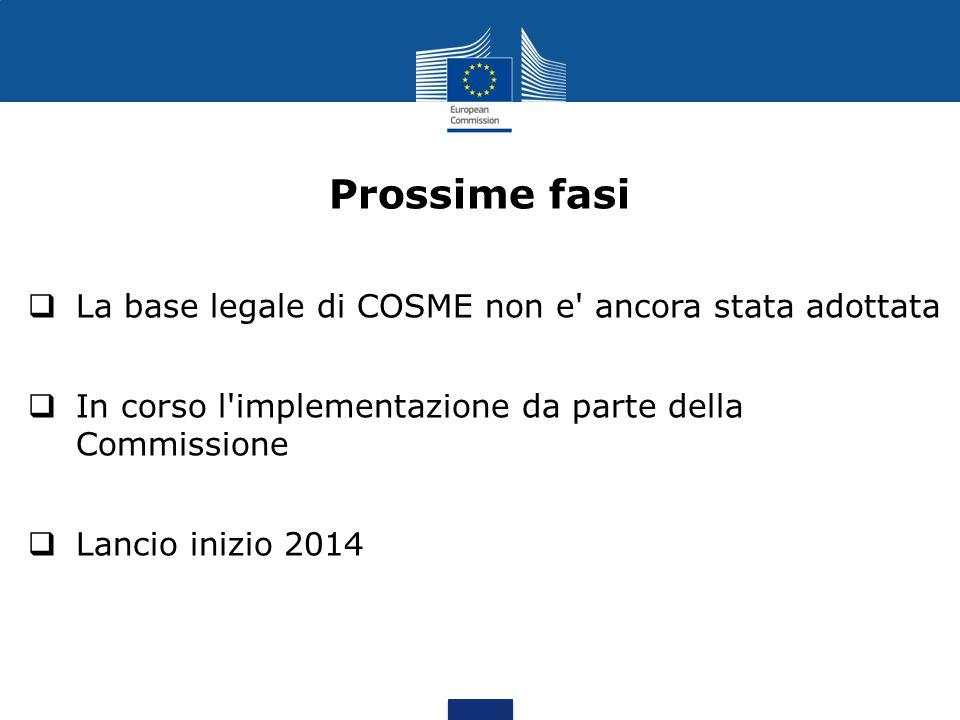 Prossime fasi La base legale di COSME non e ancora stata adottata