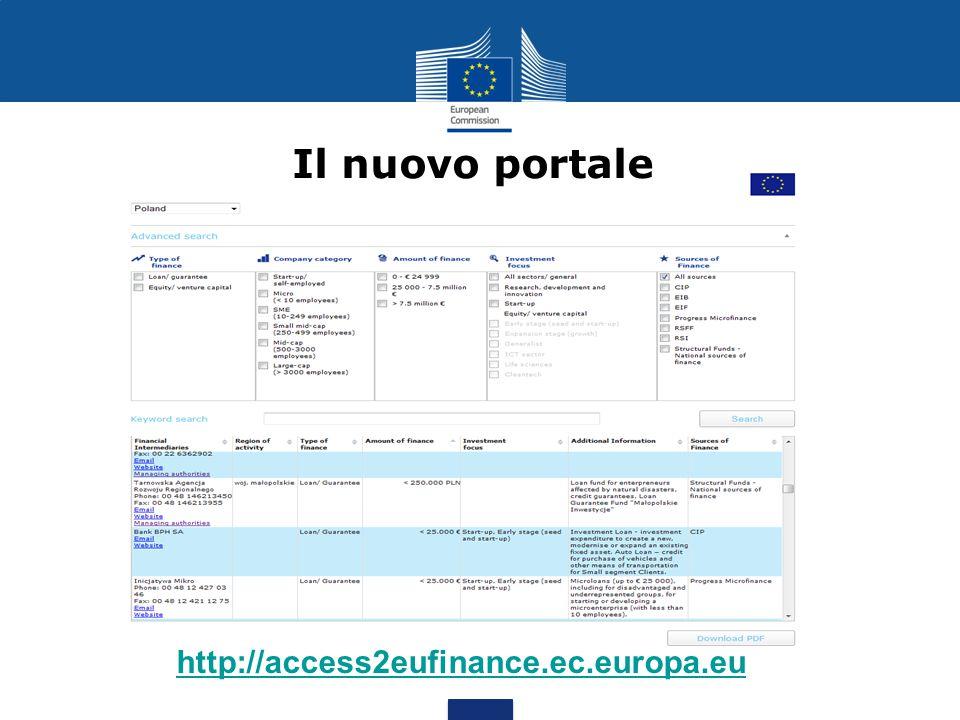 Il nuovo portale http://access2eufinance.ec.europa.eu