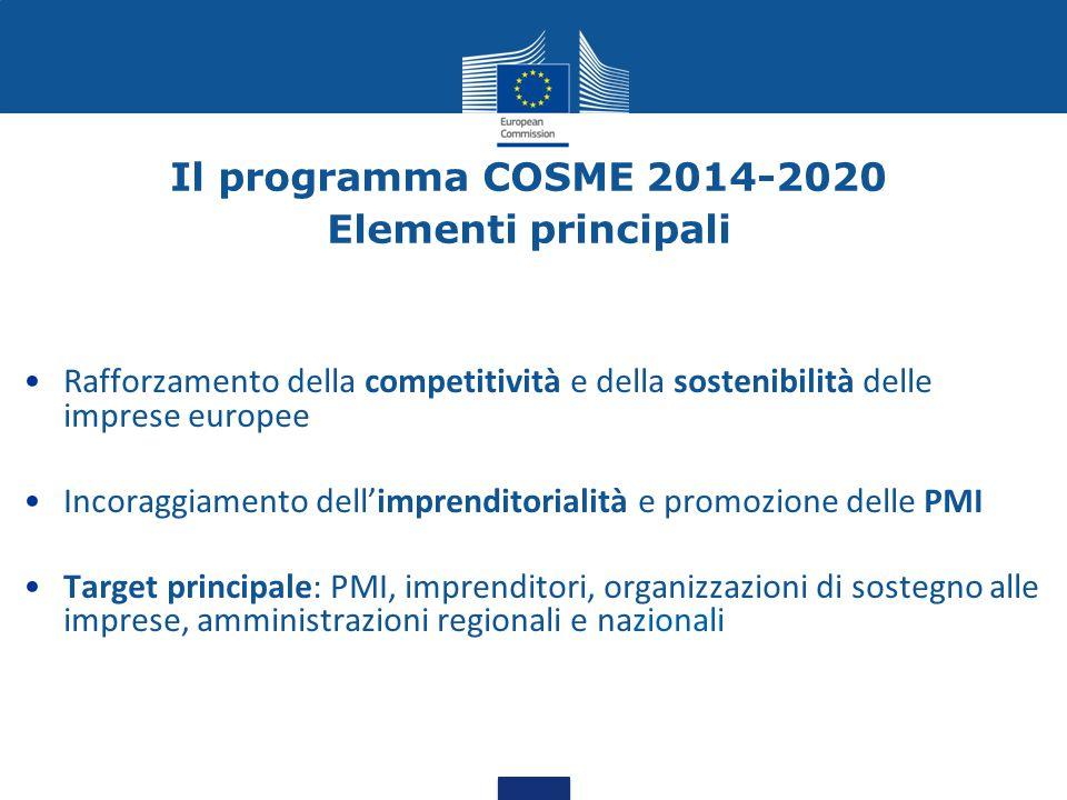 Il programma COSME 2014-2020 Elementi principali