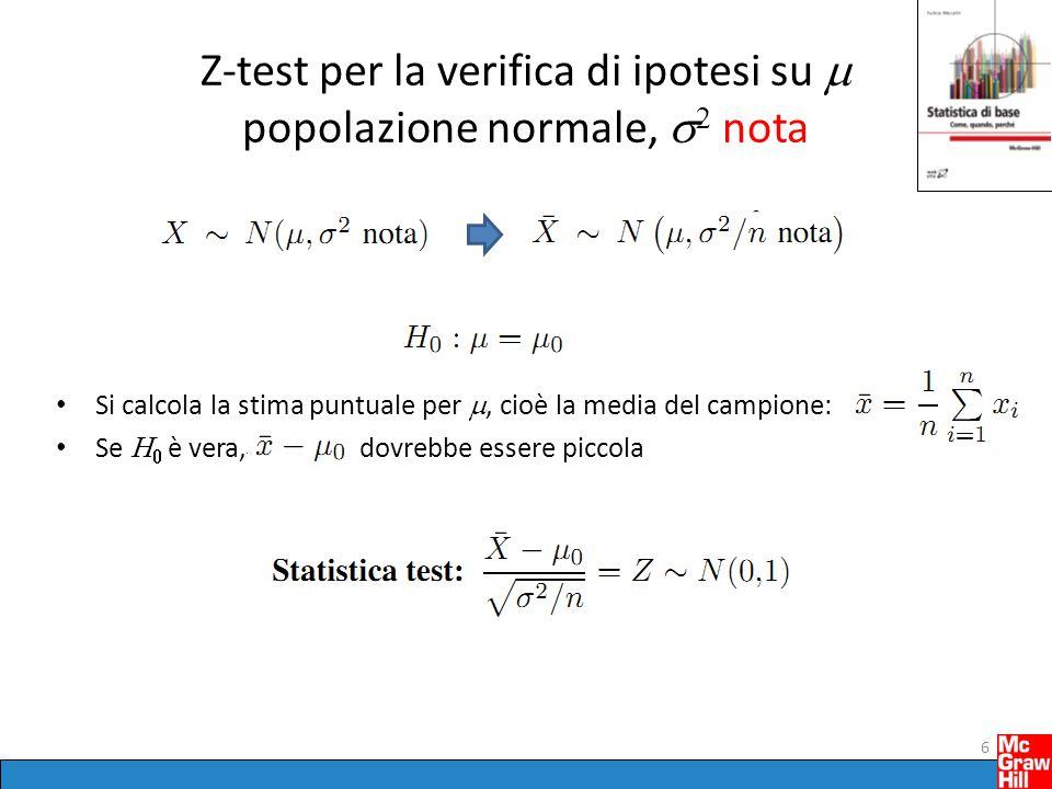 Z-test per la verifica di ipotesi su m popolazione normale, s2 nota